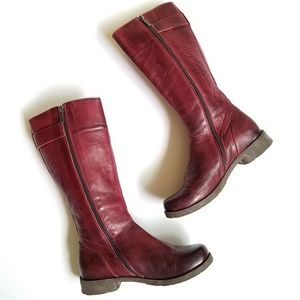 Jafa Red Leather Boots Handmade In Israel Size 38